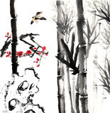 My art work-- plum blossom, bamboo and bird Stock Photos