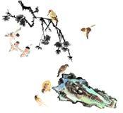 My art work-- plum blossom and bird stock illustration