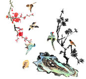 My art work-- plum blossom and bird Royalty Free Stock Photography