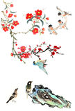 My art work-- plum blossom, stone and bird Royalty Free Stock Photos