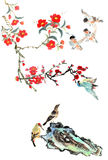 My art work-- plum blossom, stone and bird Stock Images