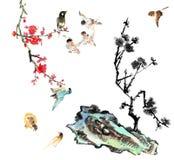 My art work-- plum blossom, stone and bird royalty free illustration