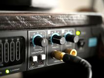 Audio Interface in Music Recording Studio. My audio interface in my bedroom recording studio with knobs and all Stock Photo