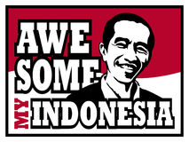 My awesome Indonesian president, Jokowi. Dodo in red and white Indonesian flag background Royalty Free Stock Photo