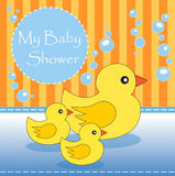 My Baby Shower. New baby shower invitation with mother duck and ducklings Royalty Free Stock Images