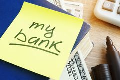 My bank written on a stick. Savings and Home finances concept. Royalty Free Stock Photography