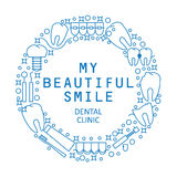 My beautiful smile. The modern round logo or emblem of the dental clinic. Icons of sickness and teeth treatment. Stock Images