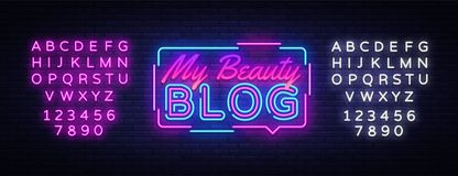 Free My Beauty Blog Neon Sign Vector. Blogging Design Template Neon Sign, Light Banner, Neon Signboard, Nightly Bright Royalty Free Stock Image - 145100996