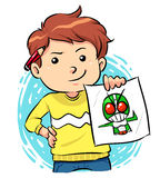 My Best Artworks. Image of a boy showing off his artwork. Vector EPS8 file Stock Image