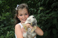 My best friend. Portrait of a girl with her best friend the rabbit Stock Photo