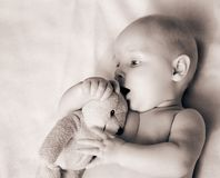 My best friend. Beautiful baby with his best friend stock photography