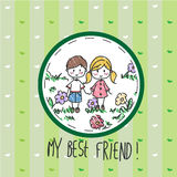 My best friend. Hand drawn greeting card Royalty Free Stock Images