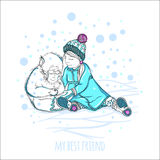 My best friend. Little girl plays with a cute monkey. Hand drawing. Winter picture. The falling snow. Stock Image