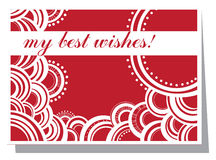 My best wishes!. Red and white card with best wishes Royalty Free Stock Photos