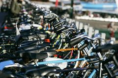 My bicycle. Many bicycles in a bikepark in amsterdam Royalty Free Stock Photography