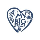 My Big Space. Universe. I love Cosmos. Flat graphic symbol of the dream of space, Royalty Free Stock Image