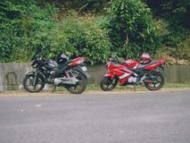 My bike and my friends bike while trip to ponmudi royalty free stock photo