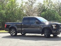 My black truck. Black F150 2015 model Stock Photography