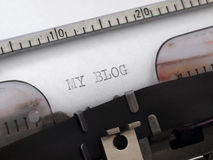 My blog. Title printed on the typewriter Royalty Free Stock Photography