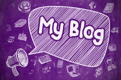 My Blog - Cartoon Illustration on Purple Chalkboard. Stock Image