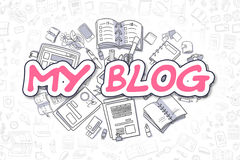 My Blog - Doodle Magenta Text. Business Concept. Royalty Free Stock Photo