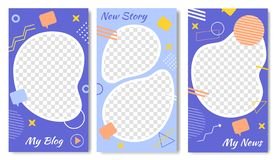 My Blog, News Set of Templates for Social Media. vector illustration