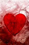 My bloody valentine. Bloody heart caught in the ice Royalty Free Stock Photo