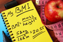 My BMI formula written on a page. royalty free stock photo