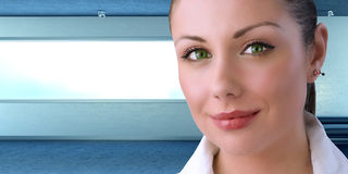 My boss is a young businesswoman green eyes royalty free stock photo