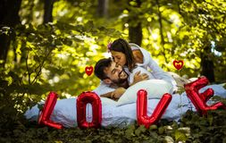 My boyfriend is best in world. Couple relationship royalty free stock image