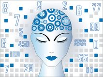 My brain is working. Female with gears in brain area numbers behind Stock Photo