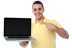 This is my brand new laptop Royalty Free Stock Photos