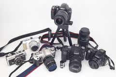 My camera and lens isolate white Royalty Free Stock Photography