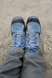 My canvas shoes  from nepal in everest  trek Royalty Free Stock Photography