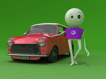 My car. The character at the red car Royalty Free Stock Photography