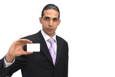 This is my card. Businessman holding blank card on white background Royalty Free Stock Images