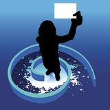 My card. Silhouette of a woman holding business card , spiral background Royalty Free Stock Photo