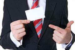 My card. Businessman showing his visiting card, formal presentation of a person after help-wanted ad Stock Images
