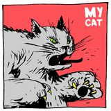 Cat fighter and bully. Color comic image for packaging and publishing. royalty free illustration