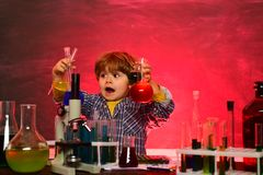 My chemistry experiment. First school day. Child from elementary school. School chemistry lessons. schoolboy. Education. Home schooling. Happy little scientist stock photos