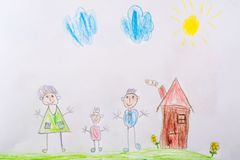 My childhood drawing is my happy family. The concept of child psychology. My childhood drawing is my happy family. The concept of child psychology royalty free stock image