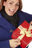 My Christmas Gift. Cheerful Beautiful Woman Being Happy With The Christmas Gift Stock Photos