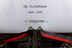 My Christmas Wish List, old style a computer Royalty Free Stock Image