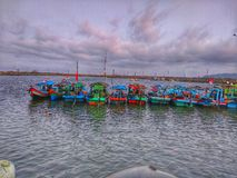 My city many dock with lined fishing boats stock images