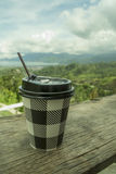 My coffee. Cup of coffee with the background scenery, which can be edited for presentation Royalty Free Stock Photos