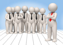 My company - 3d business people. 3d business team and their boss standing for a group photo Royalty Free Stock Photo