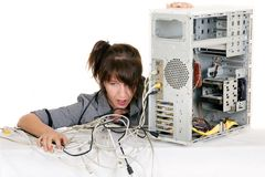 My computer stop working. Breathless business woman having problems with computer Stock Photography