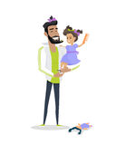 My Dad is Best Friend. My dad is my best friend vector banner. Flat design. Daughter beard comb and braid her father sitting in his arms. Playing with child stock photos