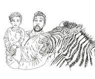 My dad bought me a zebra he is too strong! linework. My dad bought me a zebra he is too strong Stock Photos