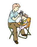 My dad cut my hair. A father trying to cut his baby hair, while the baby is sitting enjoying the meal royalty free illustration